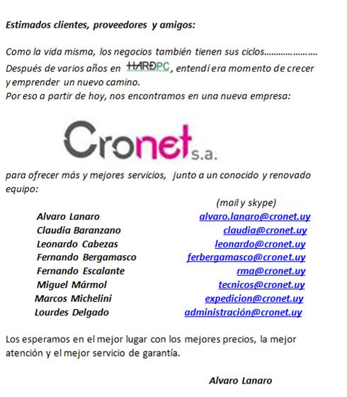 Cronet SA abre sus puertas en Uruguay
